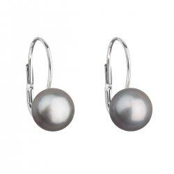 Stříbrné náušnice visací s šedou říční perlou 21044.3 21044.3