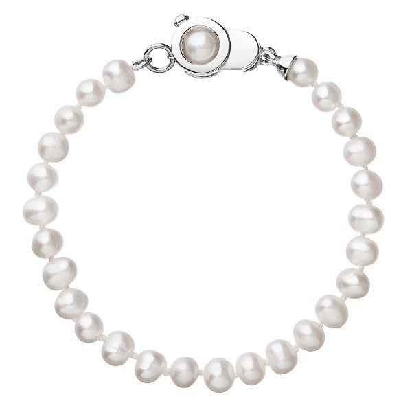 Perlový náramek z pravých říčních perel bílý 23006.1 23006.1