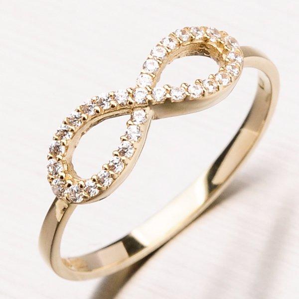 Zlatý prsten se zirkony 11-168