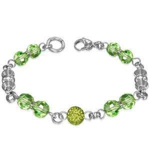Náramek se zelenými krystaly GBRS073
