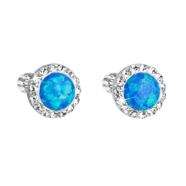 Stříbrné náušnice pecky se syntetickým opálem a krystaly Swarovski modré kulaté 31317.1 31317.1