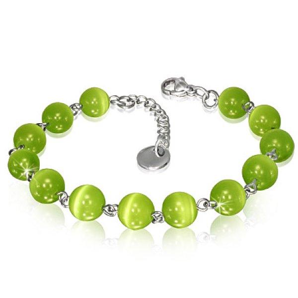 Dámský náramek se zelenými korálky GBRS035