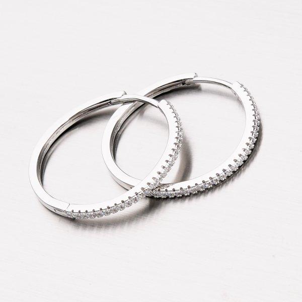 Stříbrné kruhy se zirkony EXX31180014