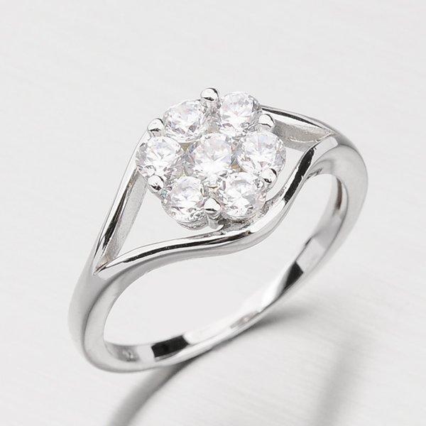 Stříbrný prsten s květinou ze zirkonů RXX07140094