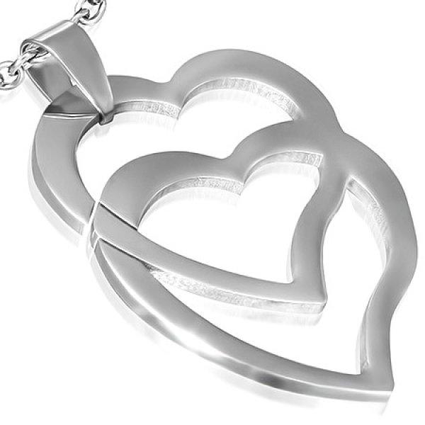Ocelový přívěsek - dvě srdce GPAC232