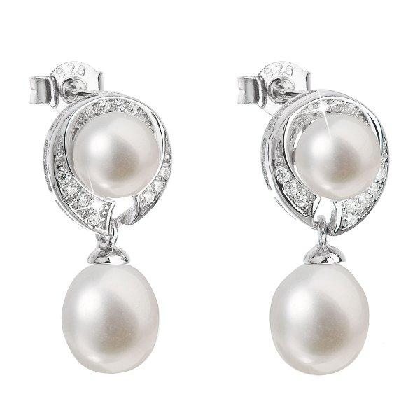 Stříbrné náušnice visací s bílou říční perlou 21039.1 21039.1