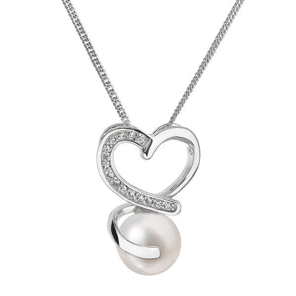 Perlový náhrdelník s řetízkem z pravých říčních perel bílý 22012.1 22012.1