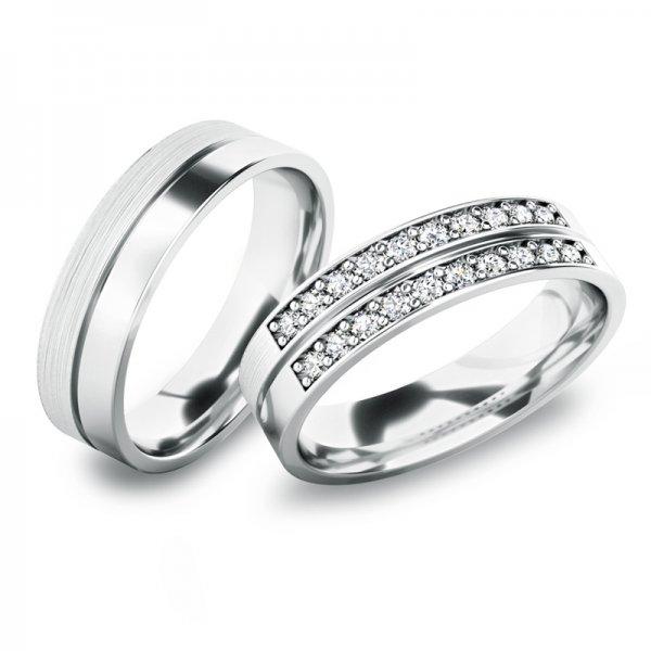Snubní prsteny z bílého zlata SP-61077B