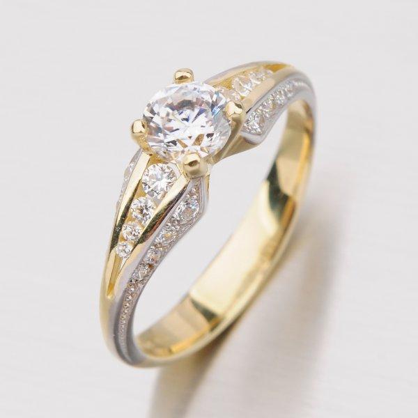 Zlatý prsten se zirkony GZ2103