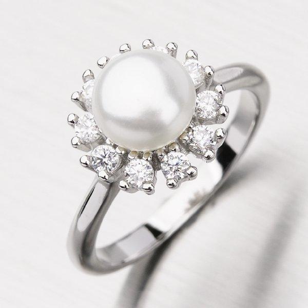 Stříbrný prsten s perlou GLM11-004