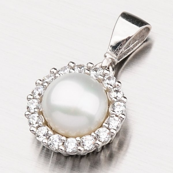 Přívěsek s perlou a zirkony 13-208