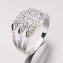 Prsten z bílého zlata se zirkony 11-145