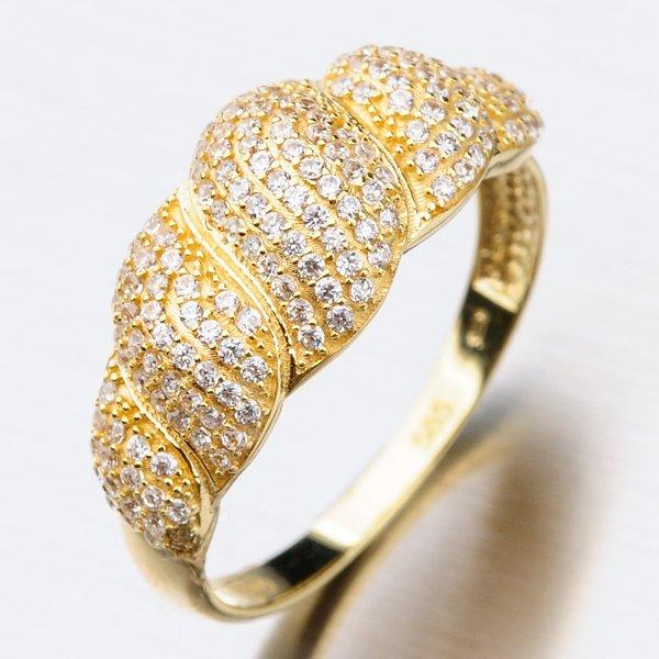 Zlatý prsten se zirkony 41-NY08