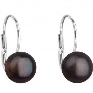 Náušnice s černou říční perlou 21044.3 black