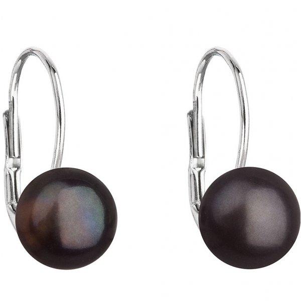 Stříbrné náušnice visací s černou říční perlou 21044.3 21044.3