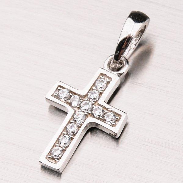 Kříž z bílého zlata se zirkony 13-212