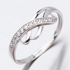 Prsten se zirkony v bílém zlatě 41-NR102B