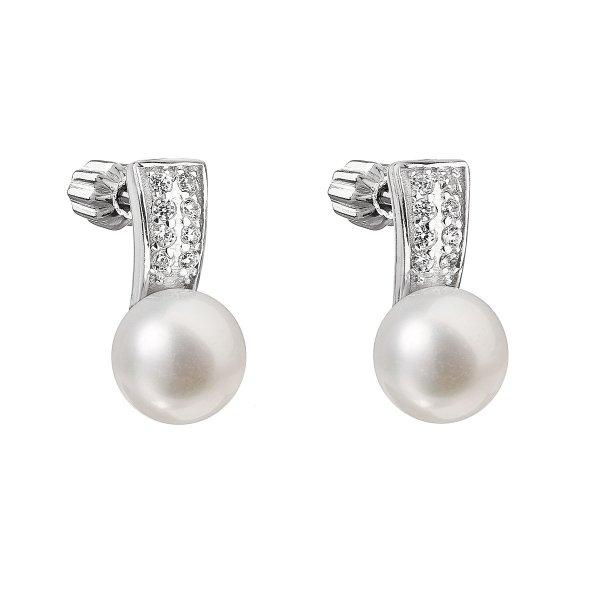 Stříbrné náušnice visací s bílou říční perlou 21001.1 21001.1