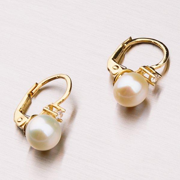 Náušnice s perlou a zirkony 42-31666