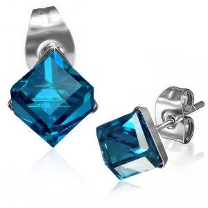 Ocelové náušnice s modrým krystalem GXRY265