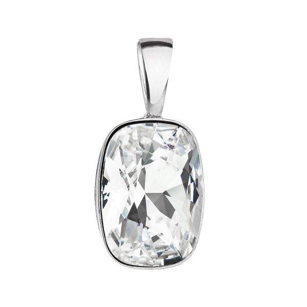 Stříbrný přívěsek s krystaly Swarovski bílý obdélník 34244.1 34244.1