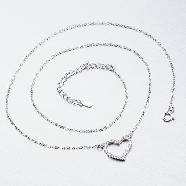 Stříbrný náhrdelník se zirkony SST-15883