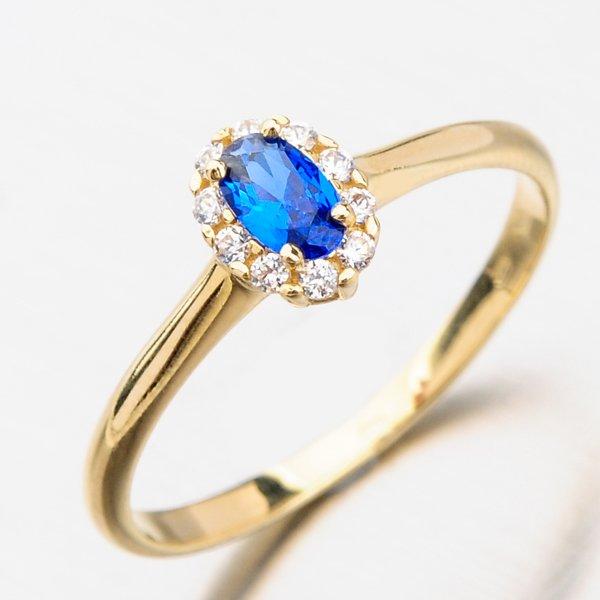 Prsten se zirkony a safírem 11-260