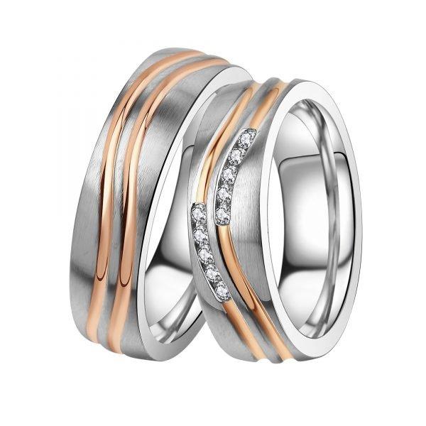 Ocelové snubní prsteny se zirkony ST-88092