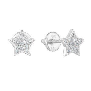 Stříbrné náušnice pecka se zirkonem bílá hvězdička 11259.1 11259.1
