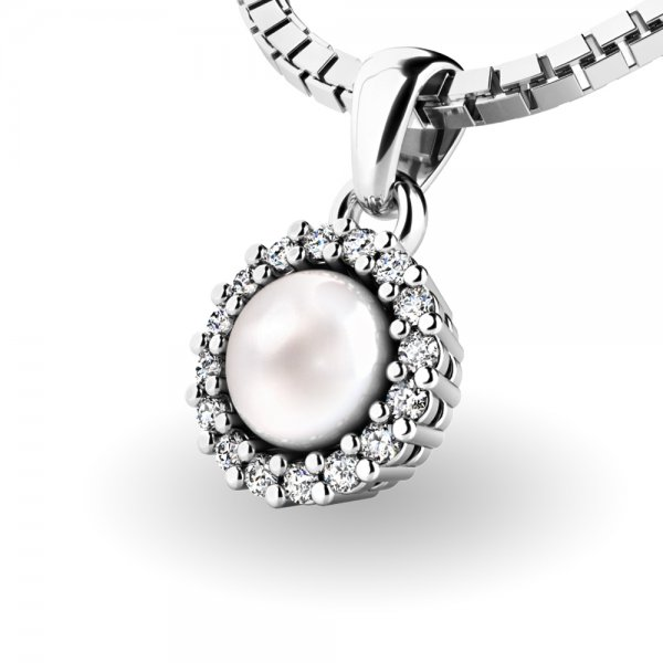 Perlový přívěsek s diamantem 10931-B-FW