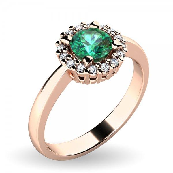 Dámský prsten se smaragdem a brilianty 10924-CV-SMAR