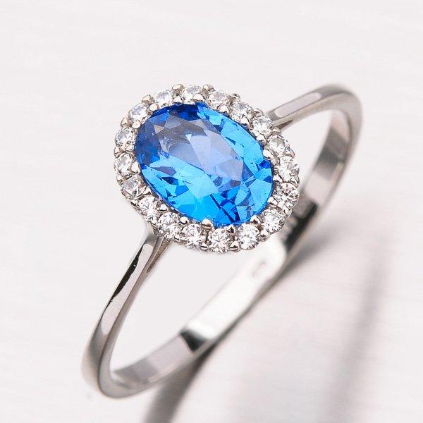 Prsten s akvamarínem a zirkony 11-197