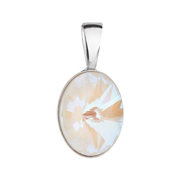 Stříbrný přívěsek s krystalem Swarovski bílý ovál 34245.4 light grey delite 34245.4