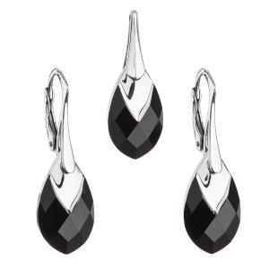 Sada šperků s krystaly Swarovski náušnice a přívěsek černá slza 39169.4 39169.4