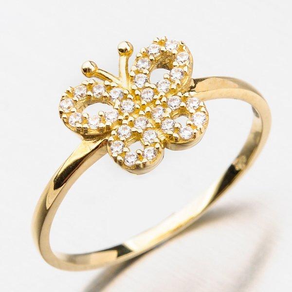 Prsten s motýlkem a zirkony 11-263