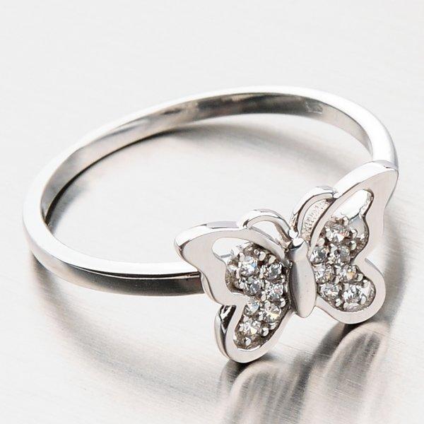 Prsten s motýlkem a zirkony 11-265
