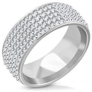 Ocelový prsten se zirkony GTRM133
