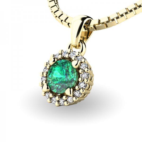 Luxusní přívěsek se smaragdem a diamanty 10927-ZL-SMAR
