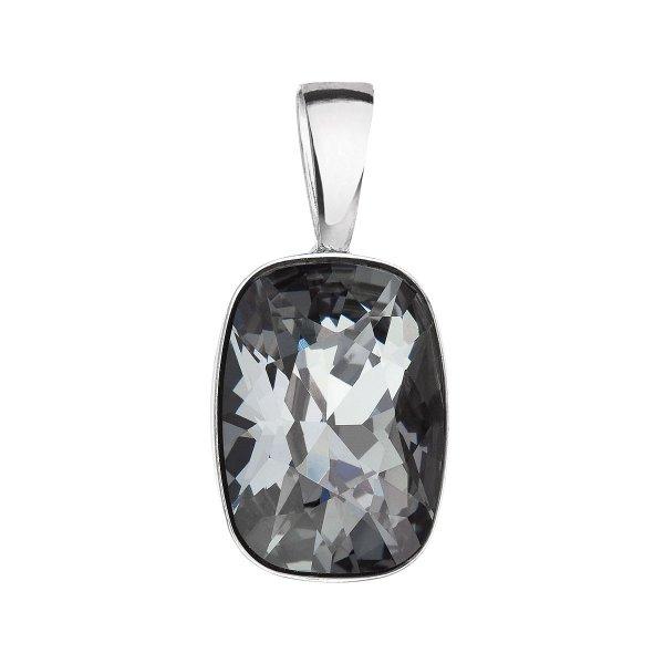 Stříbrný přívěsek s krystaly Swarovski šedý obdélník 34244.5 silver night 34244.5