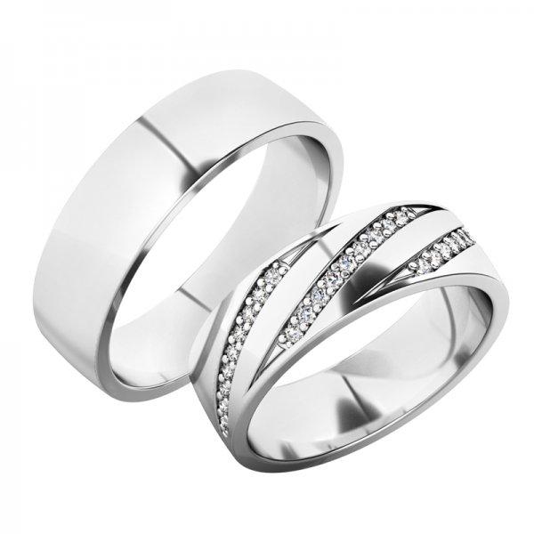 Snubní prsteny z bílého zlata SP-61078B