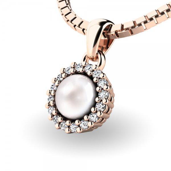 Perlový přívěsek s diamantem 10931-CV-FW