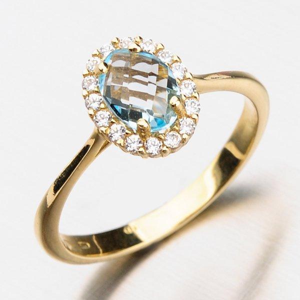 Prsten se zirkony a akvamarínem 11-255