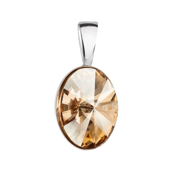 Stříbrný přívěsek s krystalem Swarovski zlatý ovál 34245.5 34245.5