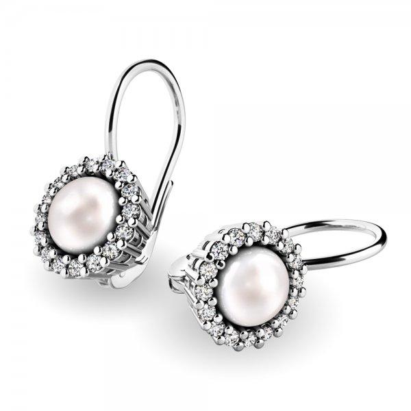 Perlové náušnice s diamanty 10929-B-FW