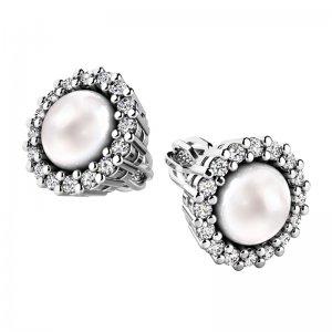 Perlové náušnice s diamanty 10930-B-FW