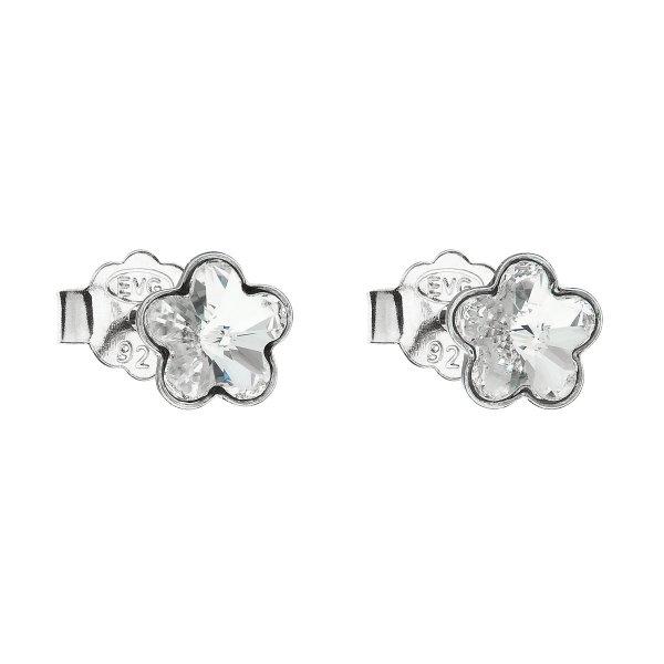 Stříbrné náušnice pecka s krystaly Swarovski bílá kytička 31080.1 31080.1