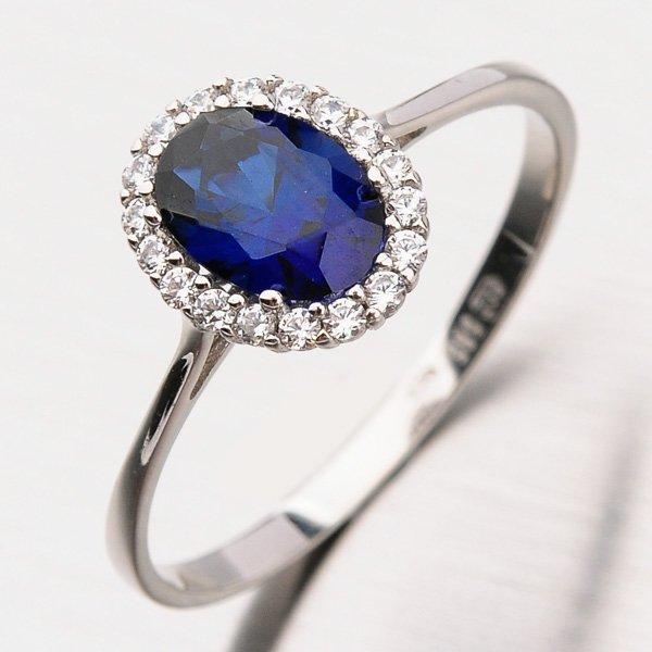 Prsten se safírem a zirkony 11-207