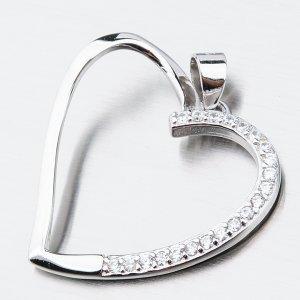 Stříbrné srdce se zirkony HST-13280