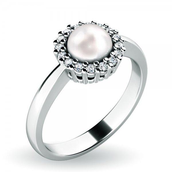 Perlový prsten s diamanty 10928-B