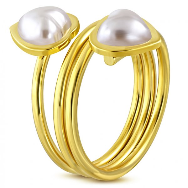 Ocelový prsten s perlami GWRP306